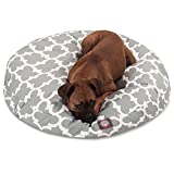 Large White Grey Trellis Pattern Dog Bed, Gray Quatrefoil Modern Round Pet Bedding, Bold Fun Print, Features Water, Stain Resistant ,Removable Cover, Comfort Design, Polyester