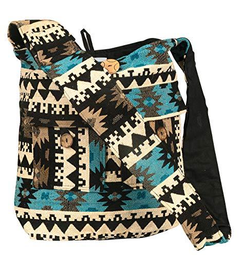 Tribe Azure Large Blue Quilted Hobo Shoulder Bag Crossbody Sling Beach Travel ()