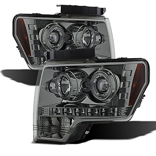 For Ford F150 F-150 Pickup Chrome Clear Dual Halo LED Projector Headlights Front Lamps Replacement