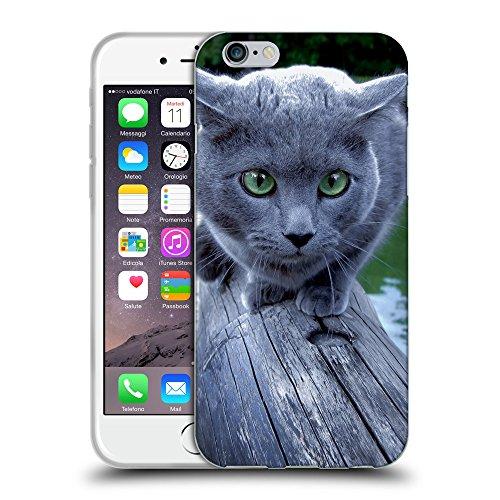 """Just Phone Cases Coque de Protection TPU Silicone Case pour // V00004294 Scarougechat bleu sur un pont // Apple iPhone 6 4.7"""""""