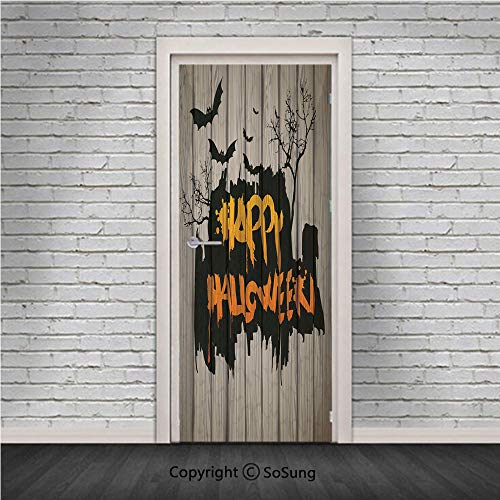 Halloween Decorations Door Wall Mural Wallpaper Stickers,Happy Graffiti Style Lettering on Rustic Wooden Fence Scary Evil Artwork,Vinyl Removable 3D Decals 30.4x78.7/2 Pieces set,for Home Decor Multi -