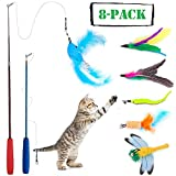Keklle 8 Pcs Cat Feather Toy, Cat Toy Wand, Teaser Wand Toy Set, Cat Toys Interactive Retractable Wand Rod with Assorted Feather Toy for Exercising Kitten or Cat (Feather Toys)