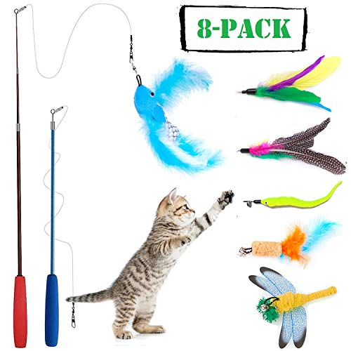 Rod Cat (8 Pcs Cat Feather Toy, Cat Toy Wand, Teaser Wand Toy Set, Wineecy Cat Toys Interactive Retractable Wand Rod with Assorted Feather Toy for Exercising Kitten or Cat)