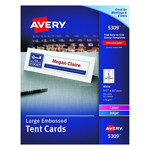 Avery White Laser & Ink Jet 3 1/2 x 11 Inch Tent Cards 50 Count (Tent Cards)