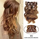"""SHOWJARLLY #4 Chocolate Brown Wavy Clip in Hair Extensions Human Hair 20"""" Body Wave Clip in Hair Extensions 7Pcs/100g Thick Full Head Remy Clip in Human Hair Extensions"""