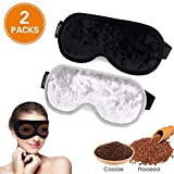 Facial Pain On Airplane - Eye Mask for Sleeping,WU-MINGLU Moist Heat Eye Compress&Microwave Hot Eye Mask for Dry Eye,Adjustable Soft Contoured Eyeshade Blindfold for Women,Men,Travel,Shift Work & Meditation (Black & Silve)
