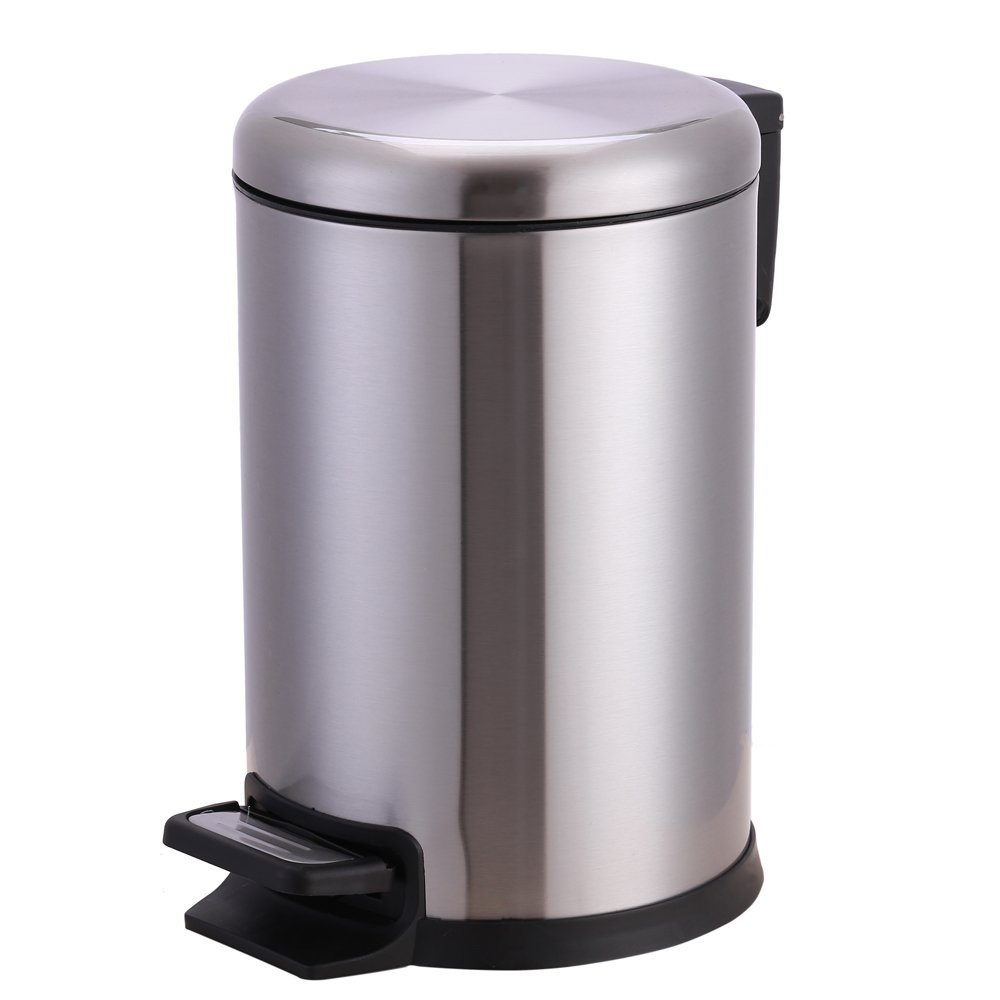 Xena 6 Liter Small Stainless Steel Round Step Trash Can Office Bin Bathroom Can