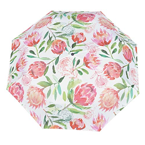 Flower Compact Travel Umbrella Cool Outdoor Sun&Rain Umbrella Sturdy Lightweight Dome Repel Umbrella With UV Protection