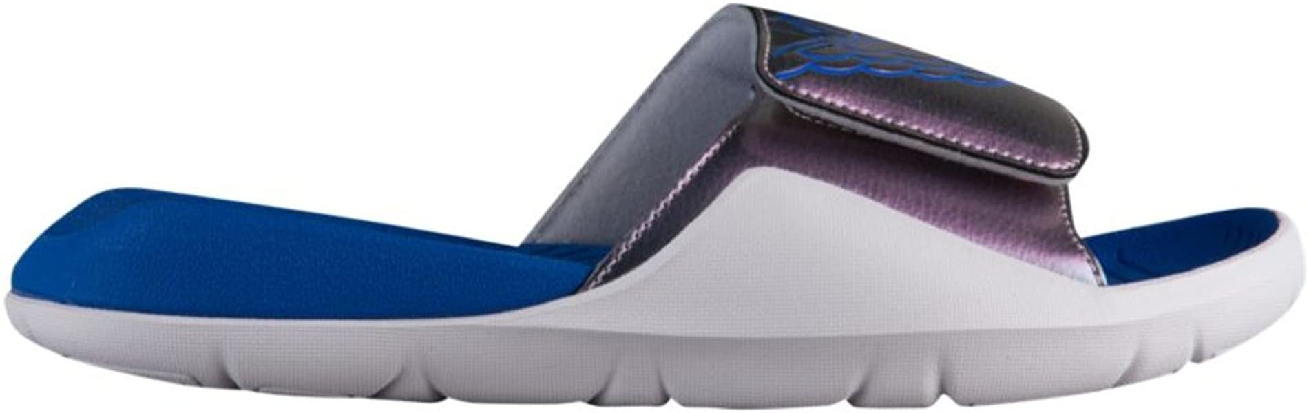 386a4c293d2f Nike Grade School Air Jordan Hydro 7 Retro Slide Sandals Wolf Grey Hyper  Royal