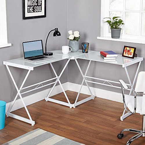 Classy Atrium Metal and Glass L-shaped Computer Desk, Durable Tempered Glass and Sturdy Metal Frame, Elegant Addition to Home and Office Furniture, Multiple Colors (L: 51.00 x W: 51.00 x H: 29.00 in) by TMS (Image #2)