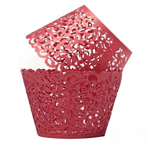 TStoy 100pcs Filigree Little Vine Lace Laser Cut Cupcake Wrapper Liner Baking Cup Muffin Case Trays Wedding Birthday Party Decoration (Red)