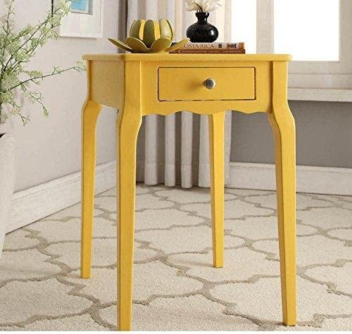 ModHaus Living Modern Country Style Wood Accent Nightstand End Sofa Side Table Rectangle Shaped