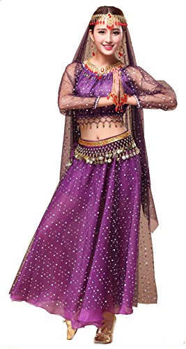 Girls Belly Dance Top Skirt Set Halloween Costume with Head Veil,Waist Chain (Fit 11-12 Years/12-13 Years, Purple(Style 2))]()