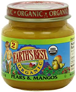 Earth's Best Organic Baby Food, Pears & Mangos, 4 Ounce (Pack of 12)
