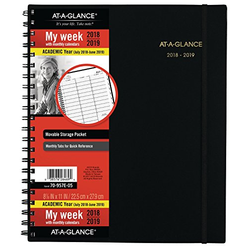 12 Month Appointment Calendar - at-A-Glance 2018-2019 Academic Year Weekly & Monthly Planner/Appointment Book, Large, 8-7/8 x 11, Black (70957E05)