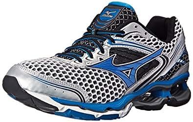 Mizuno Men's Wave Creation 17 Running Shoe, Silver/Directoire Blue, 7.5 D US