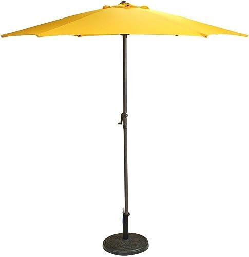 LB International Outdoor Patio Market Umbrella with Hand Crank 7.5 Yellow
