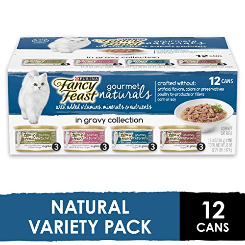 Purina Fancy Feast Natural Gravy Wet Cat Food Variety Pack, Gourmet Naturals in Gravy Collection - (2 Packs of 12) 3 oz. Cans