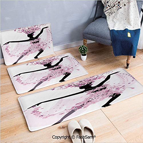 (3 Piece Non Slip Flannel Door Mat Silhouette of a Woman Dancing Samba Salsa Latin Dances Spain and Mexico Culture Print Decorative Indoor Carpet for bath Kitchen(W15.7xL23.6 by W19.6xL31.5 by W35.4xL6)