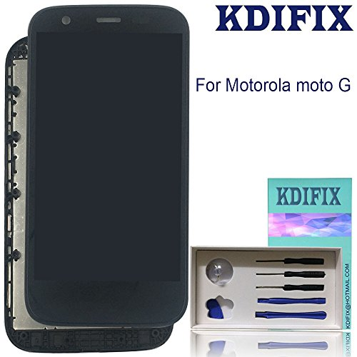 (KDIFIX for Motorola Moto G (1st Gen) XT1031 XT1032 XT1033 XT1034 XT1036 LCD Touch Screen Assembly + Frame with Full Professional Repair Tools kit (Black))