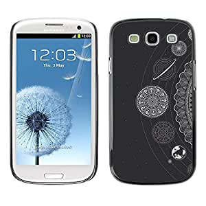 Slim Design Hard PC/Aluminum Shell Case Cover for Samsung Galaxy S3 I9300 White Stars Planets Solar System / JUSTGO PHONE PROTECTOR