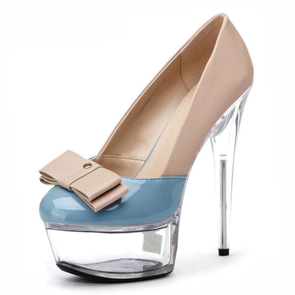 Tacones altos De Las Mujeres 17 Cm Delgadas Con La Mesa Impermeable De La Boca Poco Profunda Discoteca Cristal Zapatos De Vestir 44|Blue
