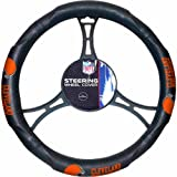 15 X 15 Inches NFL Browns Steering Wheel Cover, Football Themed Three Sides Team Logo Name Rubber Grip Sports Patterned, Team Logo Fan Merchandise Athletic Team Spirit, Brown Orange White Black, Pvc