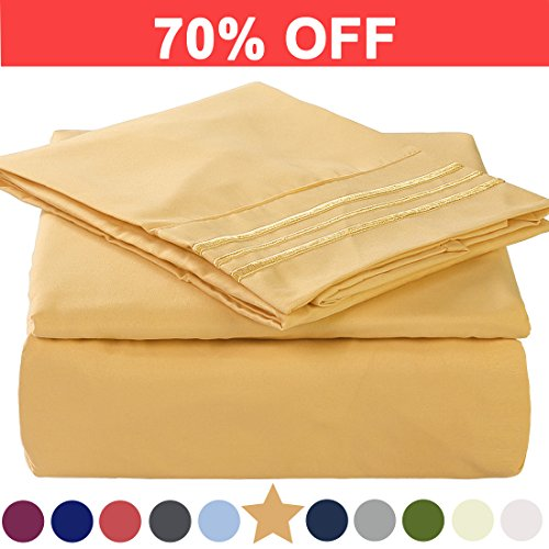 TEKAMON Twin XL Bed Sheet Set Cooling 100% Microfiber Polyester Extra Deep Pocket Fitted Sheet Breathable And Hypoallergenic Flat Sheet 3 Piece Gold