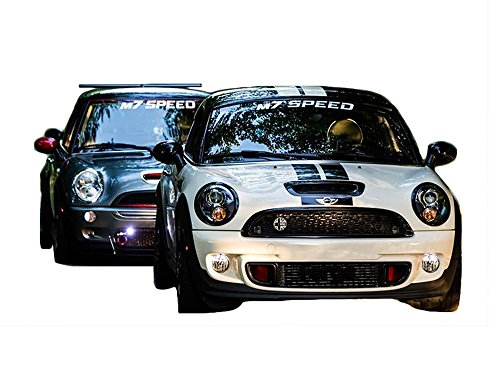 M7 Speed Curved Winshield Banner Decal | Silver - Mini Cooper
