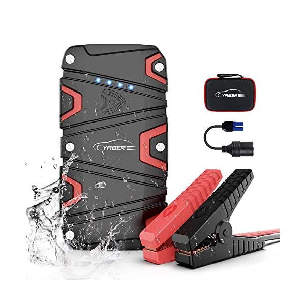 YABER Jump Starter,Car Battery Jump Starter with 1200A Peak 15000mAh for 7.5L Gas and 6L Diesel 12V IP68 Waterproof UL Certified Safe Auto Portable Car Jump Starter Built-in LED Light