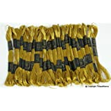 New ThreadNanny 24 METALLIC Deep Antique Gold Skeins of High Quality 100% Cotton Metallic Thread for Hand Embroidery