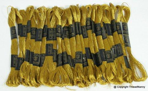 New ThreadNanny 24 METALLIC Deep Antique Gold Skeins of High Quality 100% Cotton Metallic Thread for Hand Embroidery from THREADNANNY by ThreadNanny