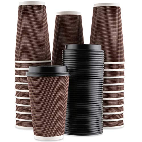 Party Bargains Rippled Hot Cups with Lids | Insulated Double Walled, No  Sleeve Needed Disposable Paper Cup for Coffee or Tea | Perfect for To-Go
