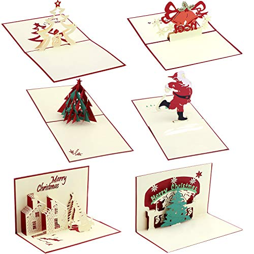 Gejoy 6 Pieces 3D Christmas Cards Pop Up Greeting Cards with Envelop for Christmas Gifts, 6 Styles
