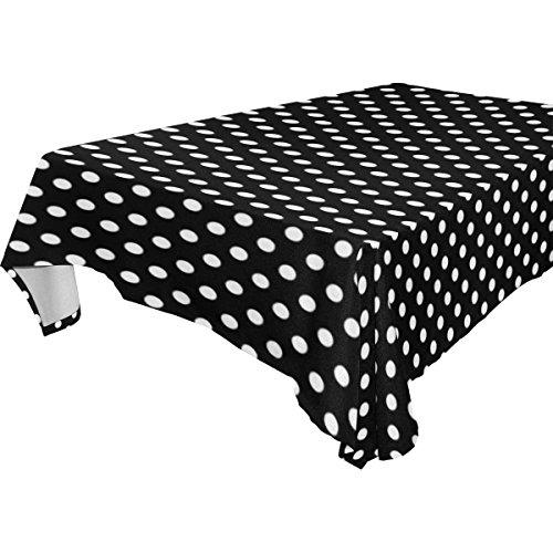 KS LINENS Black and White Polka Dot Rectangular Tablecloth 60