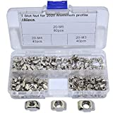 Boeray 2020 Series T Drop in Nut Assortment Kits,M3 M4 M5 T Slot Aluminum Profile with Slot 6mm Drop in Nut, Pack of 160pcs
