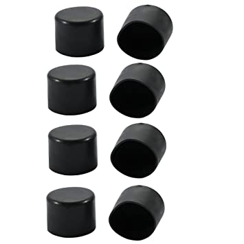 8pcs Rubber Black Round Chair Feet Protectors 35mm Inner Dia for Round Legs
