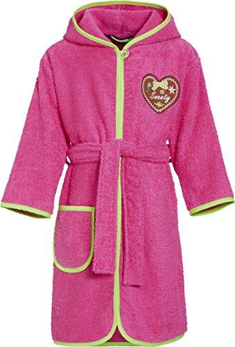 Playshoes Mädchen Frottee-Bademantel Sweety mit Kapuze, Rosa (Pink 18), 134 (Herstellergröße: 134/140)