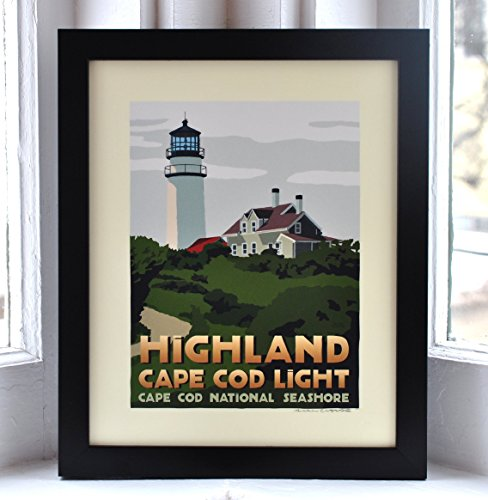 - Highland Cape Cod Light, Massachusetts Framed Print (8x10 Lighthouse Travel Poster, Wall Decor Art)