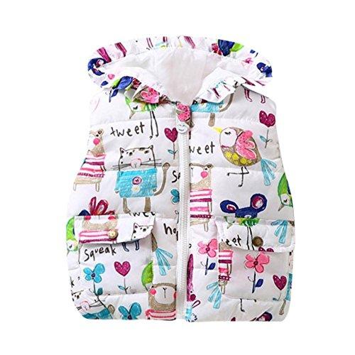 haoricu Girls Coat, 2017 Winter Infant Warm Thick Waistcoat Animal Zipper Toddler Baby Vest Hooded Jackets Coat (12M, White)