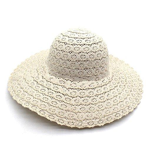 Women Summer Cotton Big Brim Anti UV Face Cover Sun Visor Beach Hat Cap UPF50+ (Fashion Khaki)