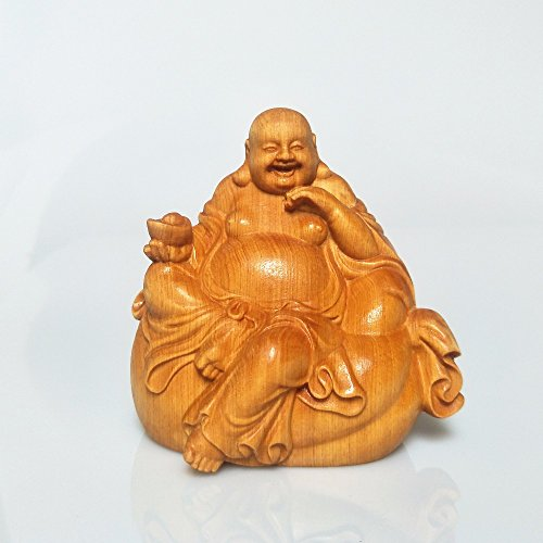 - Office Decoration Maitreya,Laughing Buddha - Wood Bouddha Statue Sculpture Buddha Ornaments Buda Statue Wooden Carvings Crafts Figurine Gifts Home Decoration Miniature Decor 1 Pcs