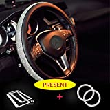 Automotive : Sino Banyan Girly Diamond Bling Steering Wheel Cover with a Bling Ring and 2x Bling License,15 Inch Black & Silver