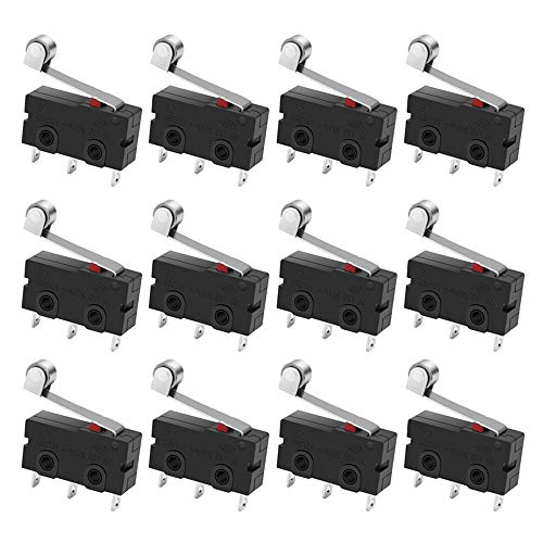MXRS SPDT1NO 1NC Momentary Hinge Metal Roller Lever Micro Switch AC 5A 125 250V 3 Pins 12 Pcs