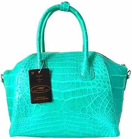 Authentic M Crocodile Skin Womens Belly Leather W Strap Bag Purse Handbag 8ccfa995ddadd