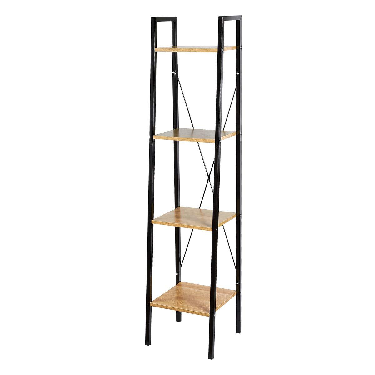 Juvale Ladder Shelf - 3 Tier Shelf, Plant Shelf, Metal and Wood Storage Shelf, Display Shelf, Multipurpose, 58.1 x 13.3 x 10.5 inches