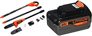 BLACK+DECKER 20V MAX Pole Saw with Extra Lithium Battery 3.0 Amp Hour (LPP120 & LB2X3020-OPE)