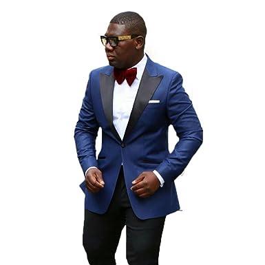 Royal Blue Jacket Black Pant Men Suit 2 Pieces Wedding Suits Jacket