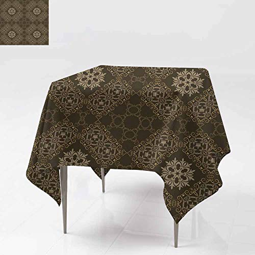(Fbdace Waterproof Table Cover,Background Retro Vintage Wallpaper 1110 High-end Durable Creative Home 54x54 Inch )