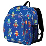 Wildkin 12 Inch Backpack, Includes Insulated, Food-Safe Front Pocket and Side Mesh Water Bottle Pocket, Perfect for Preschool, Daycare, and Day Trips, Olive Kids Design – Robots
